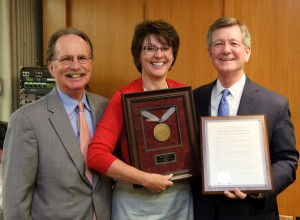 Regent Eileen Connolly-Keesler with Pres. Reilly (left) and Regent Bradley