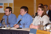 UW-Oshkosh students students Jeremiah Slinde, Brandon Strand, and Amanda Cone speak to the Education Committee