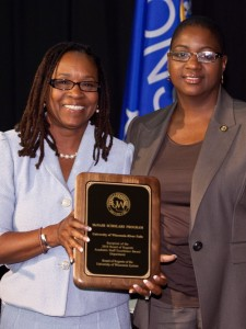 Assistant Director Njia Lawrence-Porter of the McNair Scholars Program and Regent Betty Womack