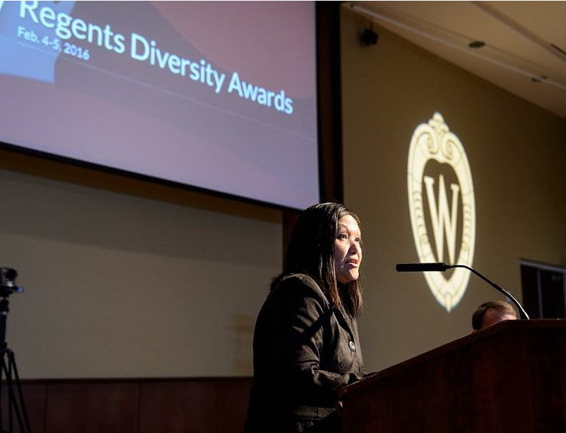 Chia Youyee Vang, associate professor of history at UW-Milwaukee, acknowledges her receipt of a Regents' Diversity Award during the UW System Board of Regents meeting at Union South at the University of Wisconsin-Madison on Feb. 5, 2016. (Photo by Jeff Miller/UW-Madison)