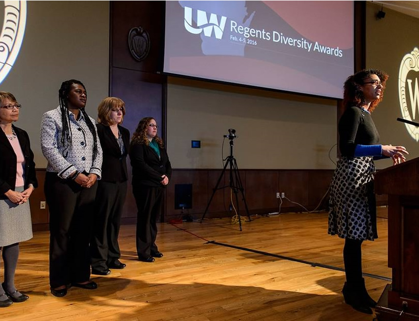 Members of UW-Extension's and UW Colleges' 4-H SySTEMatics Program acknowledge their group's receipt of a Regents' Diversity Award during the UW System Board of Regents meeting at Union South at the University of Wisconsin-Madison on Feb. 5, 2016. (Photo by Jeff Miller/UW-Madison)