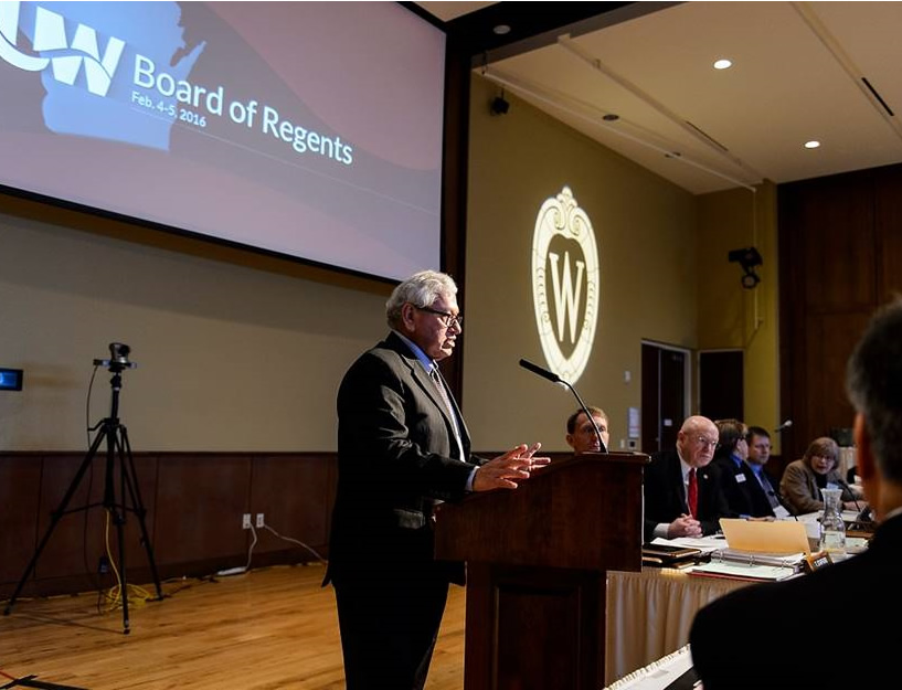 Regent José Vásquez speaks during the UW System Board of Regents meeting at Union South at the University of Wisconsin-Madison on Feb. 5, 2016. (Photo by Jeff Miller/UW-Madison)