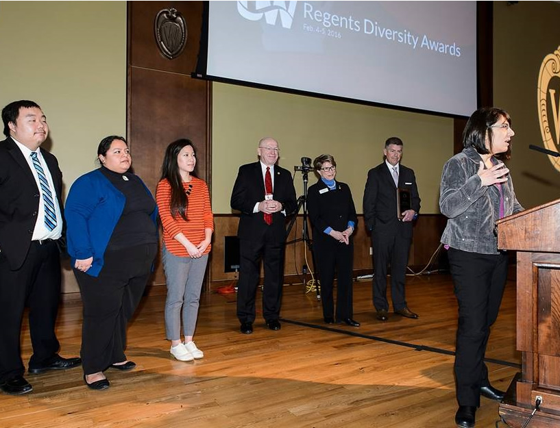 Members of UW-Stout's Multicultural Student Services acknowledge their group's receipt of a Regents' Diversity Award during the UW System Board of Regents meeting at Union South at the University of Wisconsin-Madison on Feb. 5, 2016. (Photo by Jeff Miller/UW-Madison)