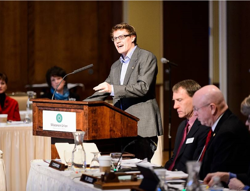 Colin Higgins, a UW-Madison student and recent recipient of a Rhodes Scholarship, speaks during a UW System Board of Regents meeting at Union South at the University of Wisconsin-Madison on Feb. 5, 2016. (Photo by Jeff Miller/UW-Madison)