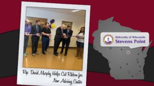 Past and present Student Government Association leaders joined Chancellor Bernie Patterson and state Rep. David Murphy, chair of Committee on Colleges and Universities, in a ribbon cutting of a new UWSP advising center on Oct. 17