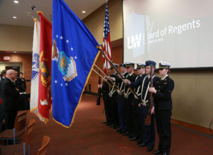 Presentation of colors by the University of Wisconsin ROTC Joint Color Guard