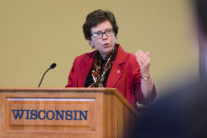 UW-Madison Chancellor Rebecca Blanks speaks during her presentation at the UW System Board of Regents meeting hosted at Union South at the University of Wisconsin-Madison on Feb. 2, 2017. (Photo by Jeff Miller/UW-Madison)