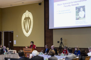UW-Madison Chancellor Rebecca Blanks speaks during her presentation at the UW System Board of Regents meeting hosted at Union South at the University of Wisconsin-Madison on Feb. 2, 2017. In the background is a projected image of the W crest icon. (Photo by Jeff Miller/UW-Madison)