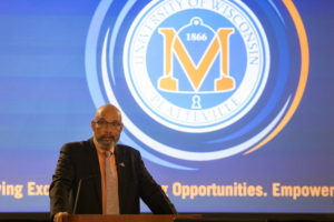Chancellor Shields addresses the Board of Regents at the Board's April meeting, hosted by UW-Platteville.