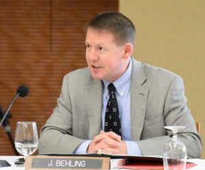 Photo of Regent President Behling giving his first report as the Board's new leader.