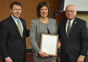 Photo of State Senator Sheila Harsdorf with Regent President Behling and President Cross