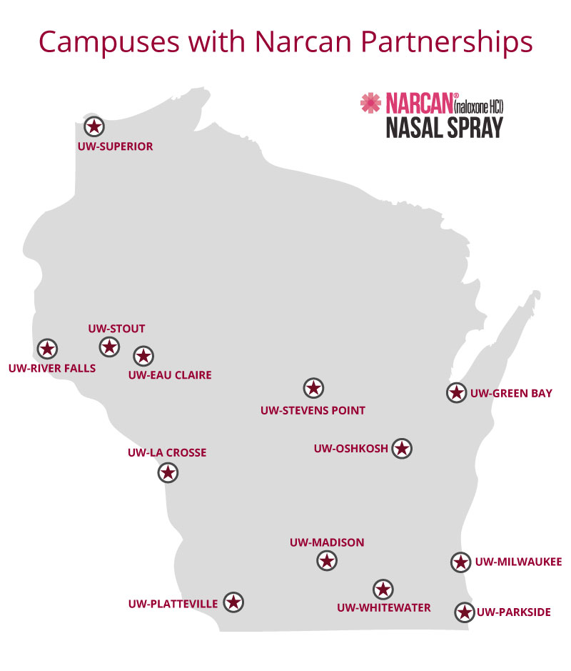 Image of the 13 UW System Campuses with Narcan Partnerships