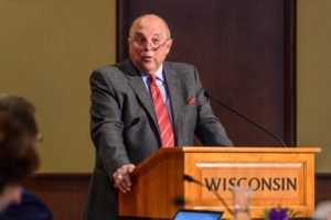 Photo of UW-Madison Athletic Director Barry Alvarez presenting the NCAA Division I Athletics Report during the UW System Board of Regents meeting at Union South at the University of Wisconsin-Madison on Feb. 9, 2018. (Photo by Jeff Miller / UW-Madison)