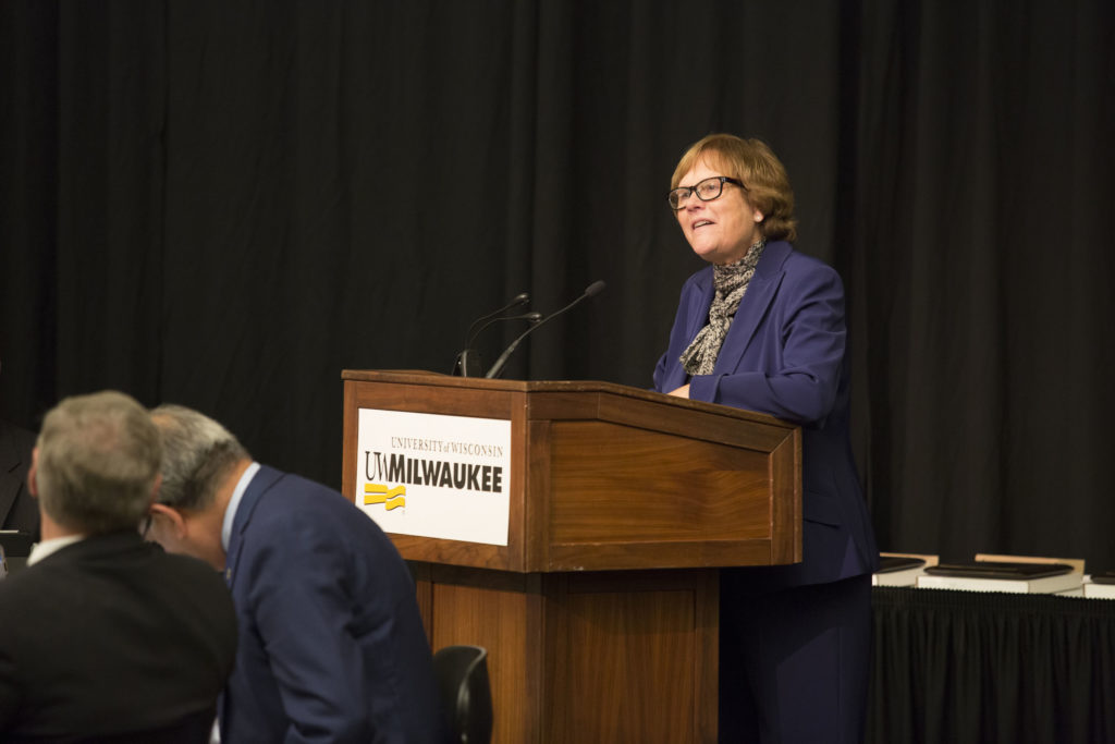 Photo of Regent Janice Mueller introducing the 2018 Teaching Excellence Awards