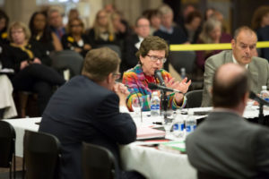 Photo of UW-Madison Chancellor Rebecca Blank speaking to the Regents