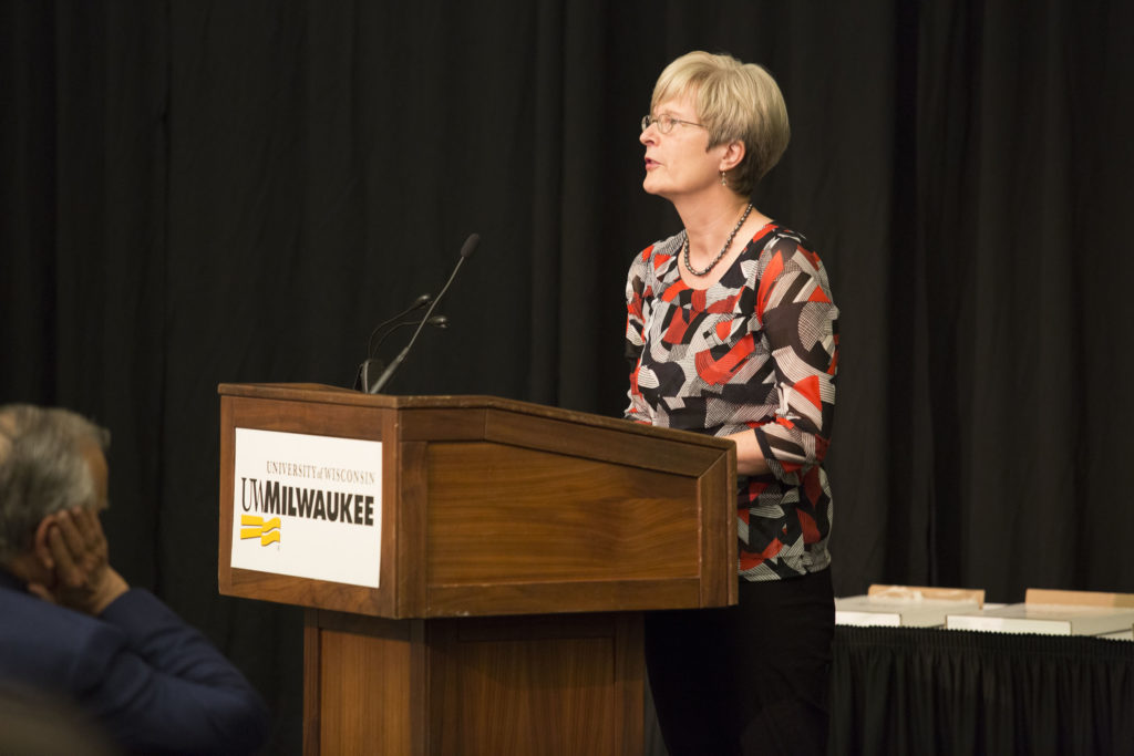 Photo of Martina Lindseth, Professor of German, Department of Languages, UW‑Eau Claire, accepting the 2018 Regents Teaching Excellence Award