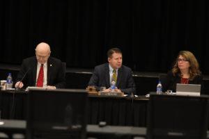 Photo of Regent President Behling at Board of Regents meeting held December 7, 2018, at UW-La Crosse