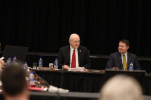 Photo of UW System President Ray Cross and Regent President Behling at Board of Regents meeting held December 7, 2018, at UW-La Crosse
