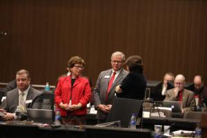 Photo of UW-Madison Chancellor Becky Blank and Regent S. Mark Tyler (UW-La Crosse, December 6, 2018)