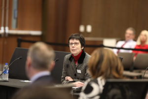Photo of Carleen Vande Zande, UW System Associate Vice President, who provided an update on UW System's Restructuring initiative at the December 7, 2018, Board of Regents meeting hosted by UW-La Crosse