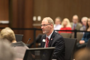 Photo of Rob Cramer, UW System Vice President for Administration, who provided an update on UW System's Restructuring initiative at the December 7, 2018, Board of Regents meeting hosted by UW-La Crosse