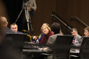 Photo of Regent Janice Mueller at the December 7, 2018, Board of Regents meeting hosted by UW-La Crosse