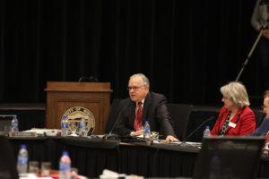 Photo of Regent José Delgado and Regent Cris Peterson at the December 7, 2018, Board of Regents meeting hosted by UW-La Crosse