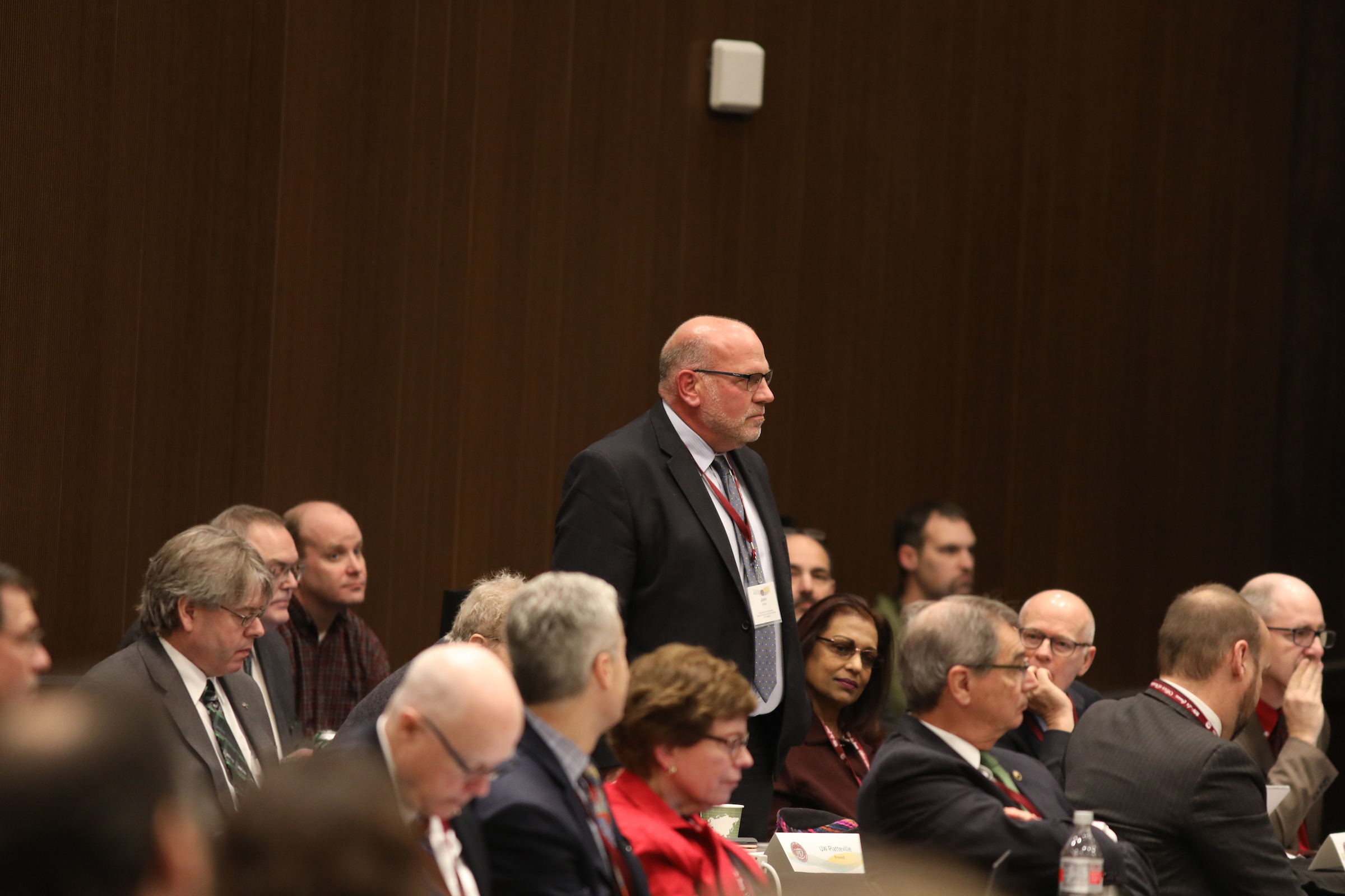 Photo of John Koker, newly named Provost & Vice Chancellor for Academic Affairs at UW-Oshkosh, being introduced at the UW System Board of Regents meeting hosted by UW-La Crosse on December 6, 2018