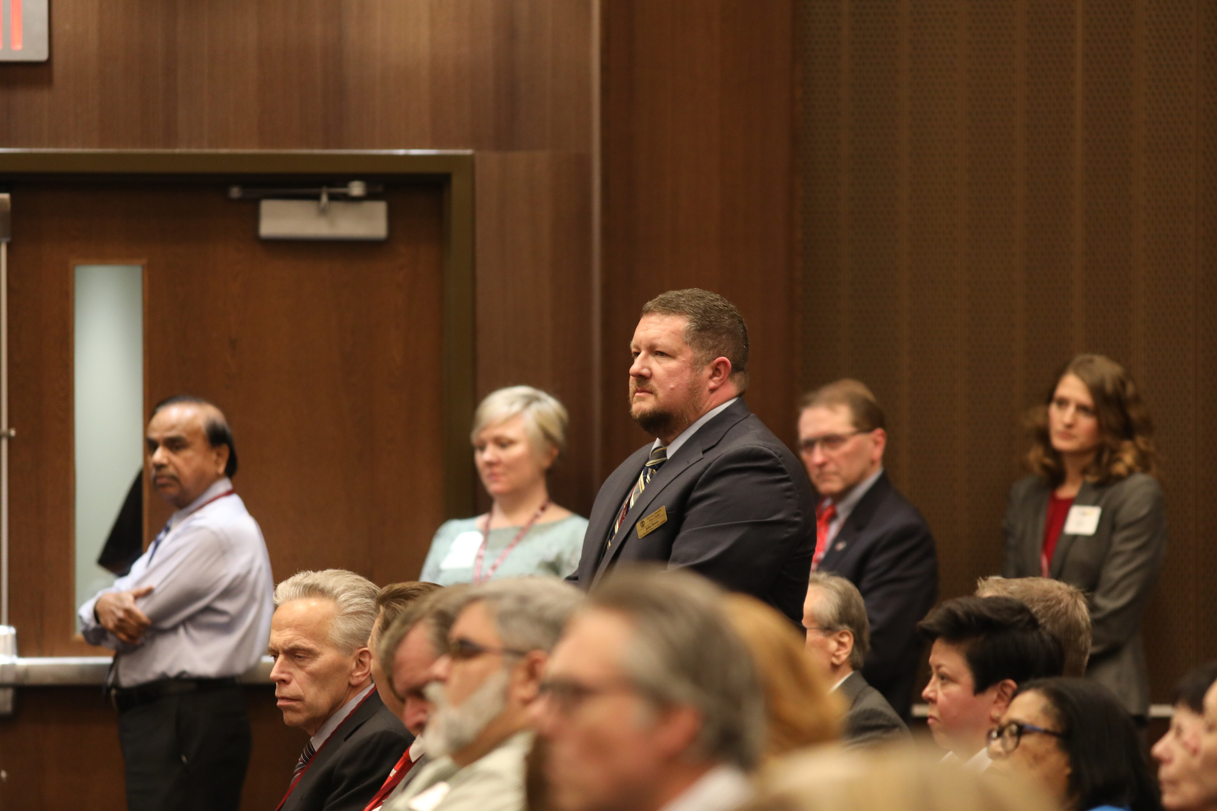 Photo of John Haven, III, who joined UW-Eau Claire earlier this fall as Vice Chancellor of Finance and Administration, being introduced at the UW System Board of Regents meeting hosted by UW-La Crosse on December 6, 2018