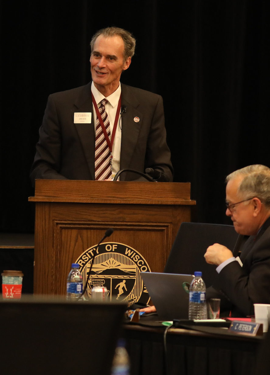 Photo of Chancellor Joe Gow during his presentation at the UW System Board of Regents meeting hosted by UW-La Crosse on December 6, 2018