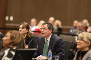 Photo of UW-River Falls Chancellor Van Galen at the December 7, 2018, Board of Regents meeting hosted by UW-La Crosse