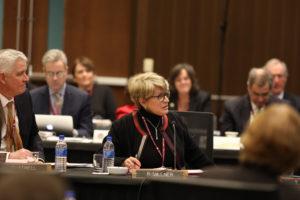 Photo of Regent Regina Millner taken at UW System Board of Regents meeting hosted by UW-La Crosse on December 6, 2018