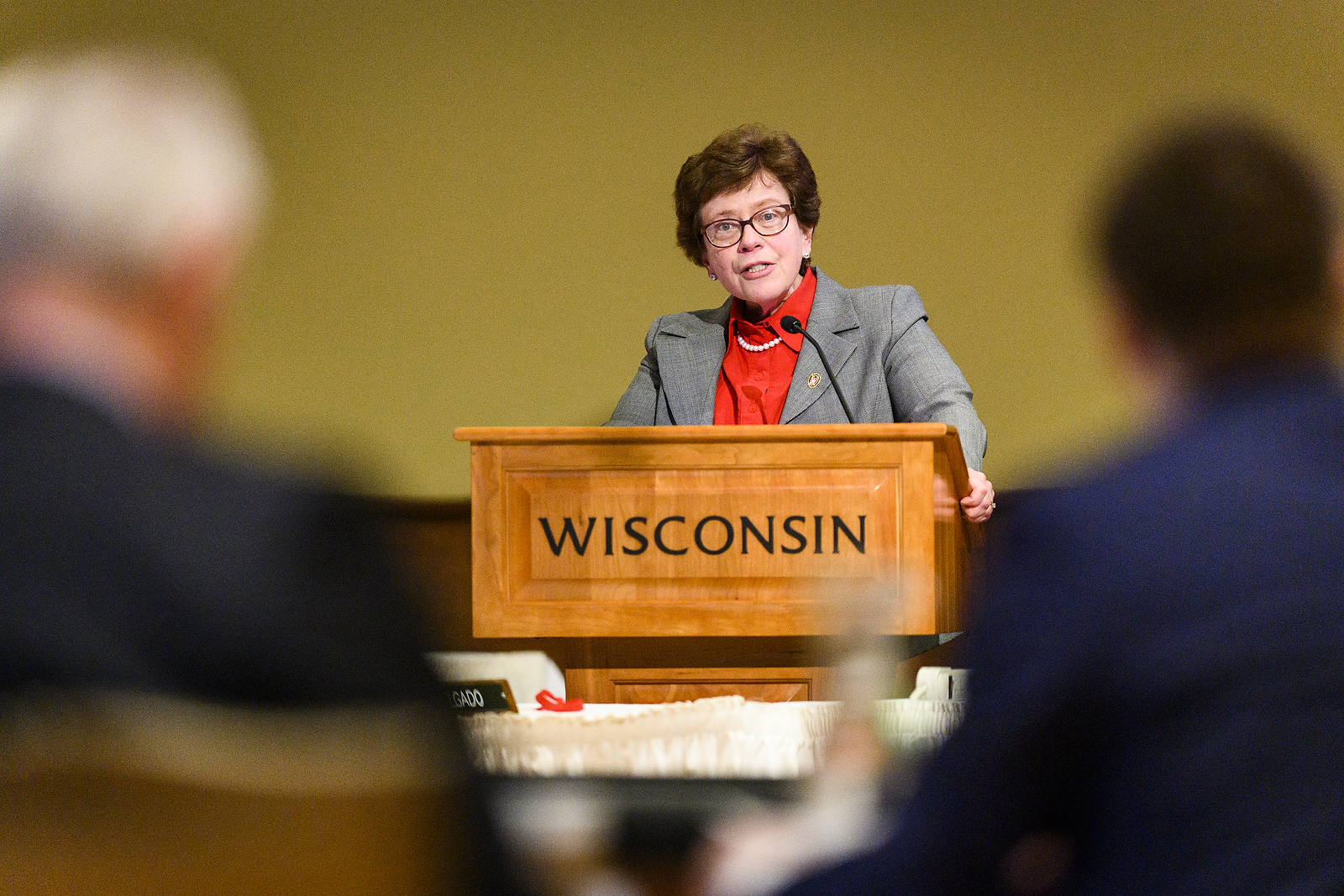 UW-Madison Chancellor Rebecca Blank speaks during her presentation at the UW System Board of Regents meeting hosted at Union South at the University of Wisconsin-Madison on Feb. 7, 2019. (Photo by Bryce Richter /UW-Madison)