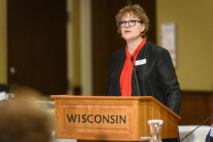 Associate Vice President Alex Roe speaks during her presentation on capital renewal at the UW System Board of Regents meeting hosted at Union South at the University of Wisconsin-Madison on Feb. 7, 2019. (Photo by Bryce Richter /UW-Madison)