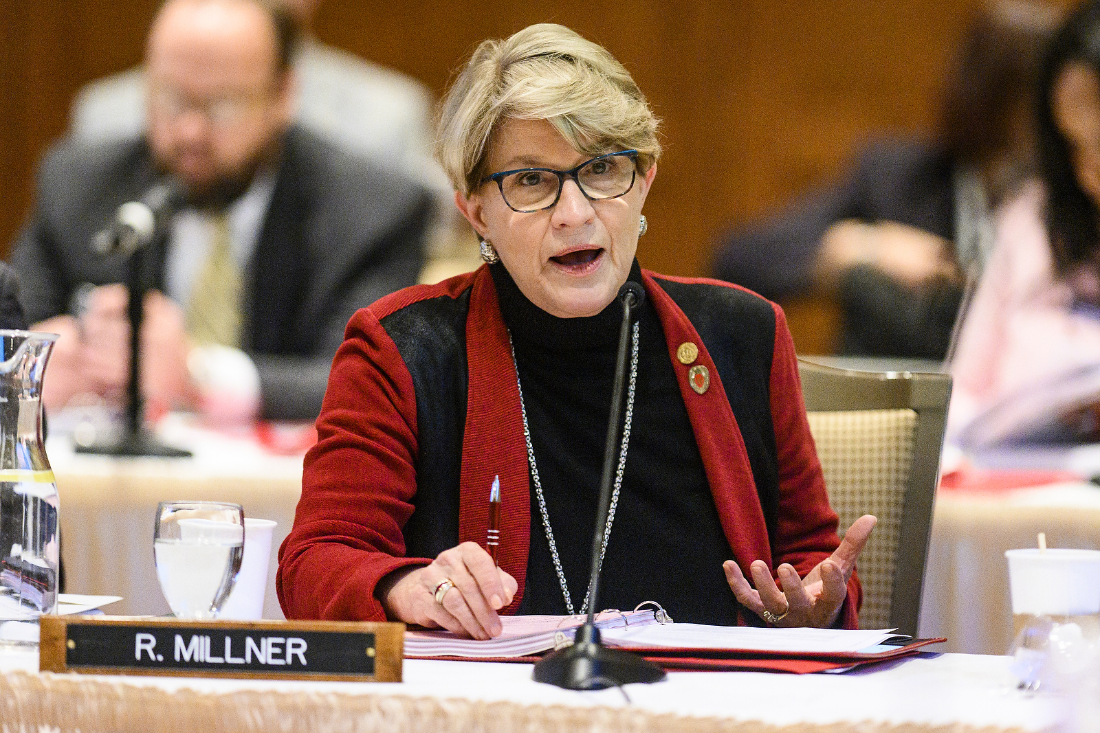 UW System Regent Regina Millner speaks at the UW System Board of Regents meeting hosted at Union South at the University of Wisconsin-Madison on Feb. 7, 2019. (Photo by Bryce Richter /UW-Madison)