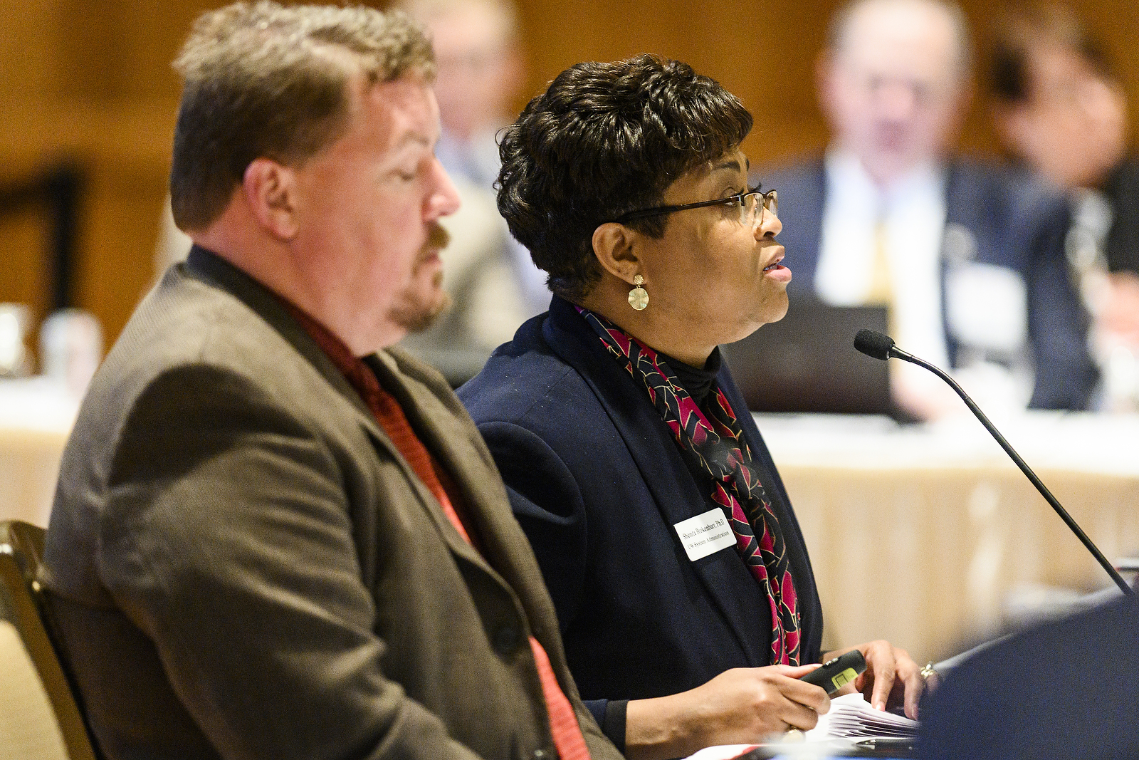 UW System Senior Associate Vice President and Resource Officer Shenita Brokenburr presents a report from the Sexual Violence and Harassment Priorities Working Group at the UW System Board of Regents meeting hosted at Union South at the University of Wisconsin-Madison on Feb. 7, 2019. (Photo by Bryce Richter /UW-Madison)