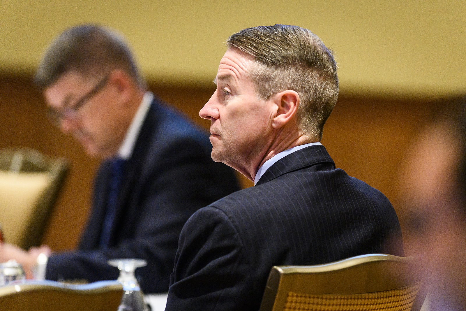 UW System Regent Mike Jones listens to a speaker at the UW System Board of Regents meeting hosted at Union South at the University of Wisconsin-Madison on Feb. 7, 2019. (Photo by Bryce Richter /UW-Madison)