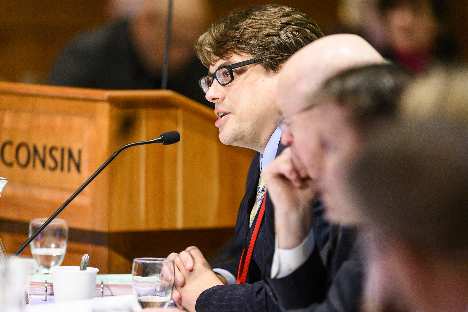 UW System's General Counsel Quinn Williams speaks at the UW System Board of Regents meeting hosted at Union South at the University of Wisconsin-Madison on Feb. 7, 2019. (Photo by Bryce Richter /UW-Madison)