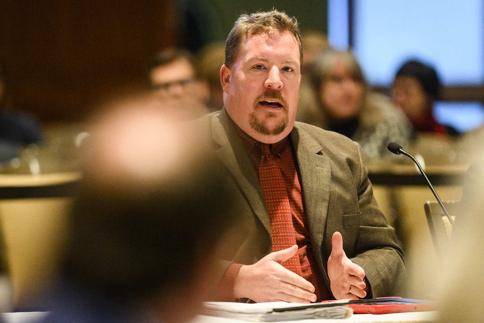 Christopher Poquet, UW-Green Bay's Assistant Vice Chancellor for Policy and Compliance and chair of the Sexual Violence and Harassment Priorities Working Group, presents a report from the working group at the UW System Board of Regents meeting hosted at Union South at the University of Wisconsin-Madison on Feb. 7, 2019. (Photo by Bryce Richter /UW-Madison)