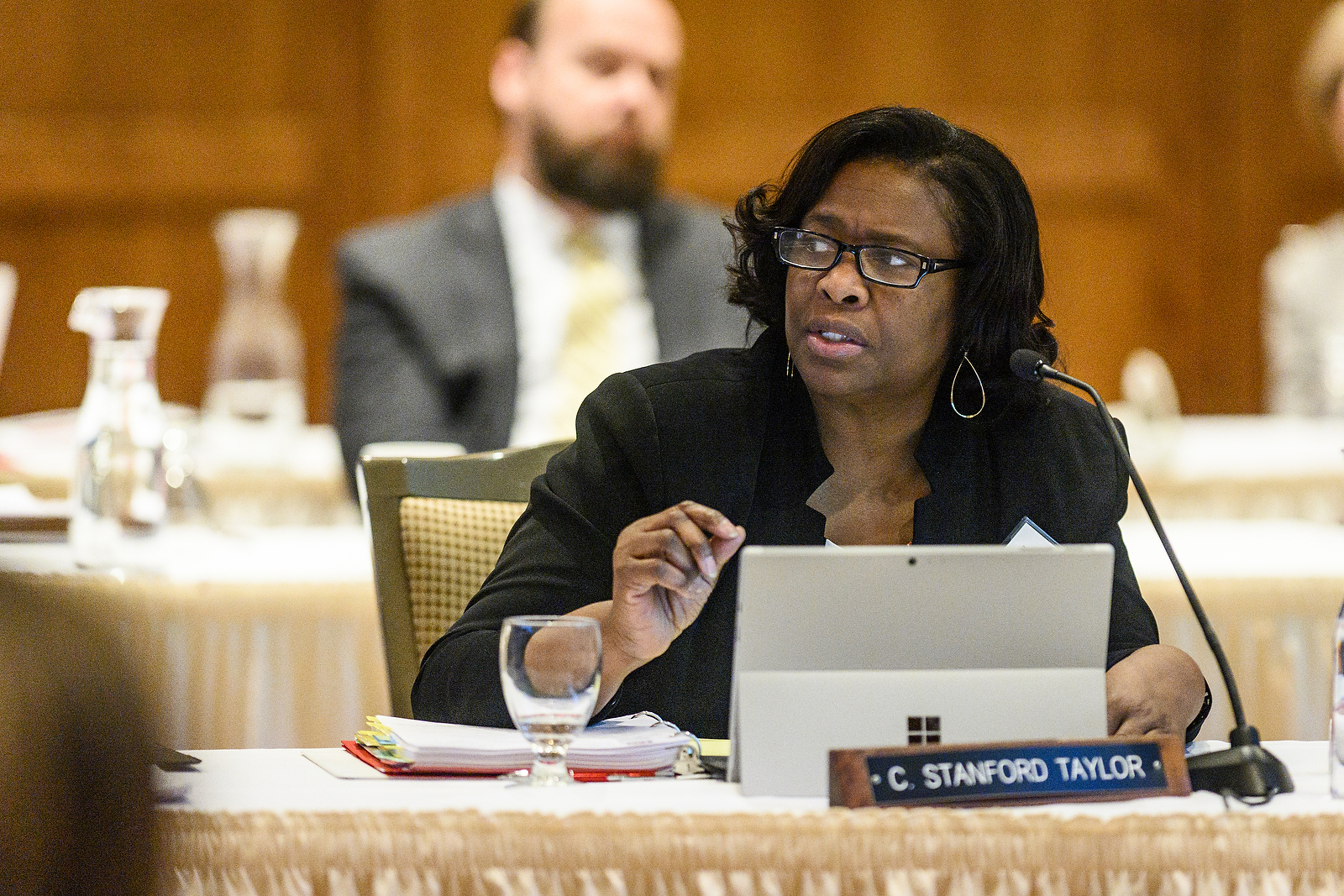 UW System Regent Carolyn Stanford Taylor speaks at the UW System Board of Regents meeting hosted at Union South at the University of Wisconsin-Madison on Feb. 7, 2019. (Photo by Bryce Richter /UW-Madison)