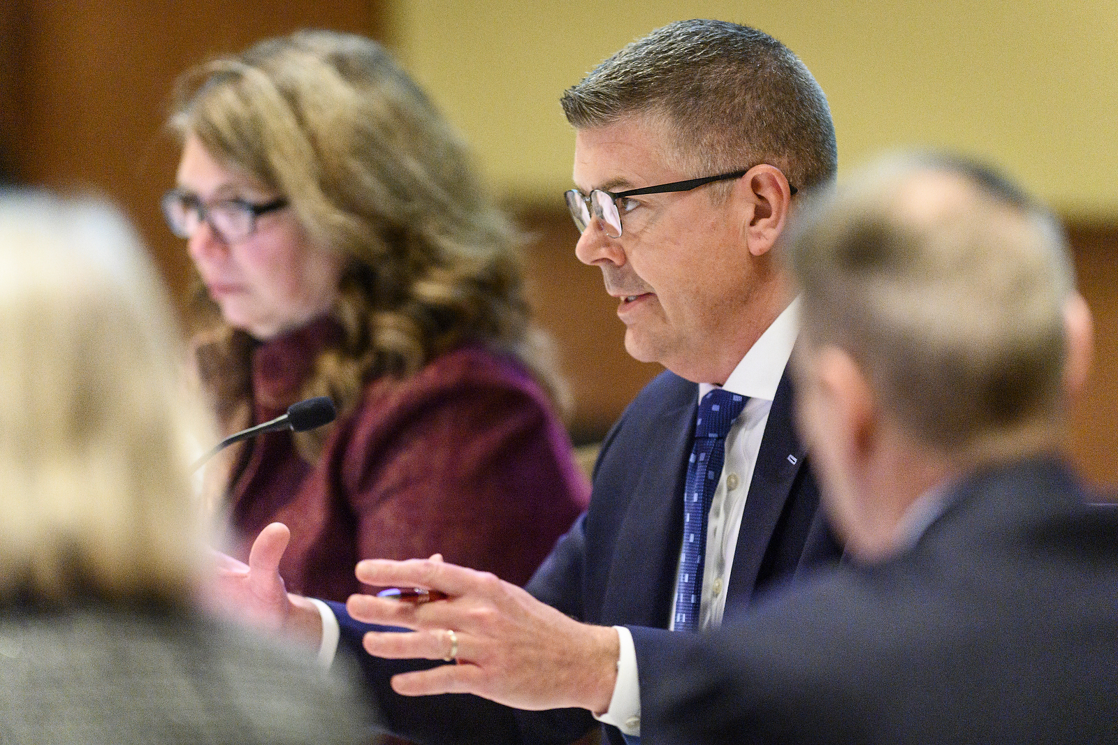 UW System Regent Vice President Drew Petersen speaks at the UW System Board of Regents meeting hosted at Union South at the University of Wisconsin-Madison on Feb. 7, 2019. (Photo by Bryce Richter /UW-Madison)