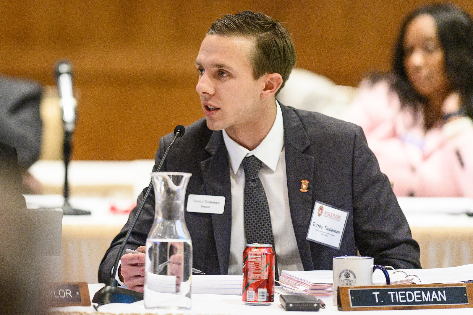 UW System Student Regent Torrey Tiedeman speaks at the UW System Board of Regents meeting hosted at Union South at the University of Wisconsin-Madison on Feb. 7, 2019. (Photo by Bryce Richter /UW-Madison)