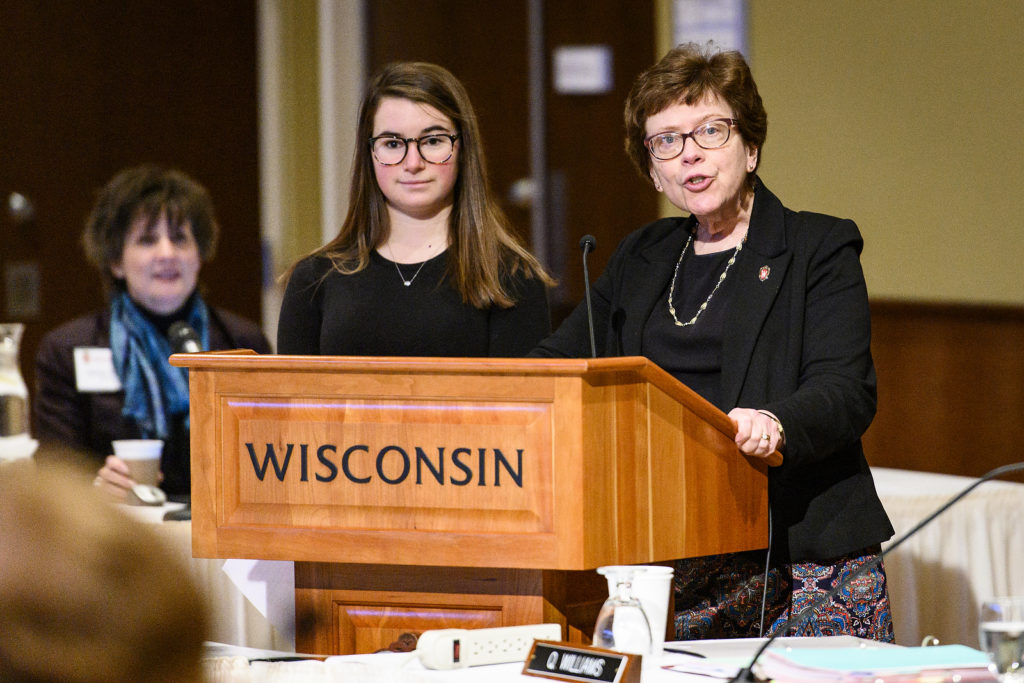 UW-Madison Chancellor Rebecca Blank introduces freshman Mackenzie Straub during the UW System President's Student Spotlight at the UW System Board of Regents meeting hosted at Union South at the University of Wisconsin-Madison on Feb. 8, 2019. (Photo by Bryce Richter /UW-Madison)