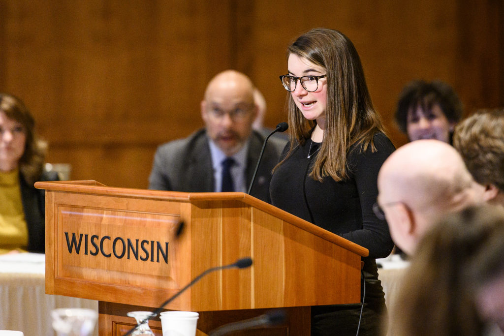 UW-Madison freshman Mackenzie Straub speaks during the UW System President's Student Spotlight at the UW System Board of Regents meeting hosted at Union South at the University of Wisconsin-Madison on Feb. 8, 2019. (Photo by Bryce Richter /UW-Madison)