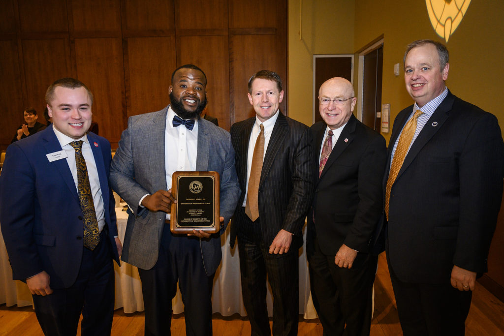 Dennis Beale from UW-Eau Claire receives a UW Board of Regents Diversity Award at the UW System Board of Regents meeting hosted at Union South at the University of Wisconsin-Madison on Feb. 8, 2019. (Photo by Bryce Richter /UW-Madison)