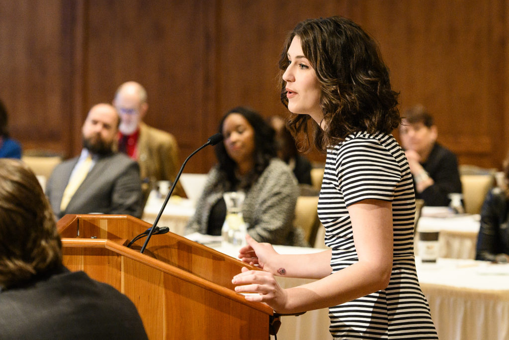 Quincy Kissack, assistant director of Student Associate Professional Staff at UW-Milwaukee, receives a UW Board of Regents Diversity Award on behalf of the UW-M Food Center and Pantry at the UW System Board of Regents meeting hosted at Union South at the University of Wisconsin-Madison on Feb. 8, 2019. (Photo by Bryce Richter /UW-Madison)