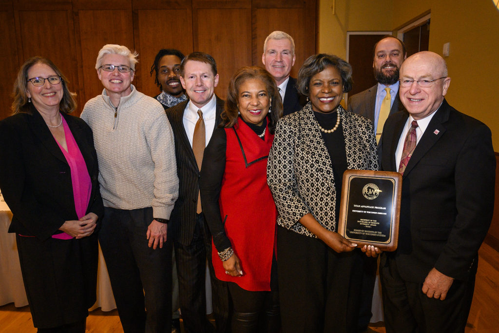 Sylvia Carey-Butler, associate vice chancellor of academic support of inclusive excellence at UW-Oshkosh, receives a UW Board of Regents Diversity Award on behalf of the Titan Advantage Program at UW-Oshkosh during the UW System Board of Regents meeting hosted at Union South at the University of Wisconsin-Madison on Feb. 8, 2019. (Photo by Bryce Richter /UW-Madison)