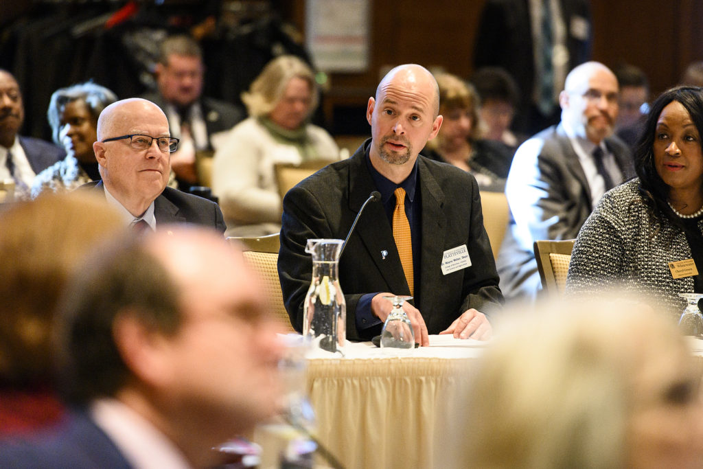 Wayne Weber, dean of the College of Business, Industry Life Science and Agriculture at the University of Wisconsin Platteville, speaks during the UW System Board of Regents meeting hosted at Union South at the University of Wisconsin-Madison on Feb. 8, 2019. (Photo by Bryce Richter /UW-Madison)