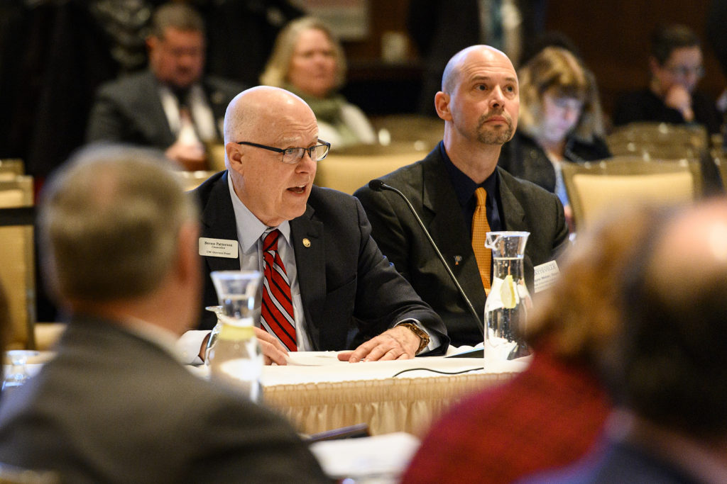 Bernie Patterson, chancellor of the University of Wisconsin- Stevens Point, speaks during the UW System Board of Regents meeting hosted at Union South at the University of Wisconsin-Madison on Feb. 8, 2019. (Photo by Bryce Richter /UW-Madison)