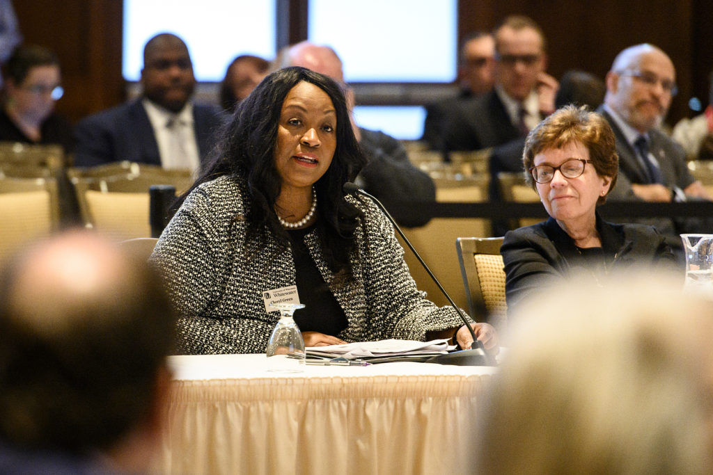 Cheryl Green, interim chancellor of the University of Wisconsin-Whitewater, speaks during the UW System Board of Regents meeting hosted at Union South at the University of Wisconsin-Madison on Feb. 8, 2019. (Photo by Bryce Richter /UW-Madison)
